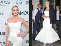 BeautySpy: Η Σαρλίζ Θερόν με λευκό μάξι με φτερά Givenchy Haute Couture