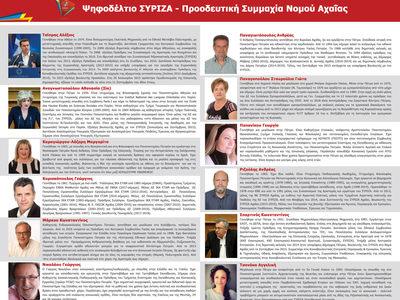 Αυτή είναι η δωδεκάδα των υποψήφιων βουλευτών του ΣΥΡΙΖΑ – Προοδευτική συμμαχία στο Νομό Αχαΐας