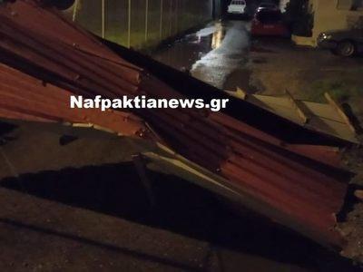 Αποκολλήθηκαν στέγες από τη βραδινή νεροποντή στο Αντίρριο