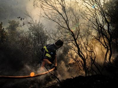 Σε δύσβατη περιοχή καίει η φωτιά στον Κάτω Δρυμό Καλαβρύτων