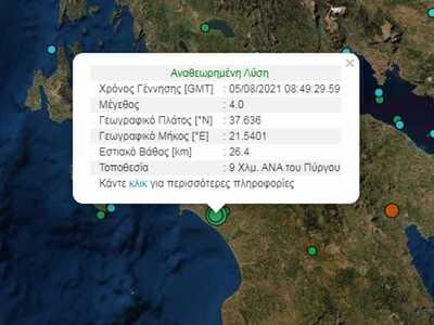 Απανωτοί οι σεισμοί στην Ηλεία την ώρα π...