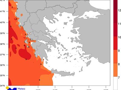 Χάρτης 1.Εκτιμώμενες μέγιστες εντάσεις των ανέμων για την Τρίτη 12/11/2019. meteo.gr