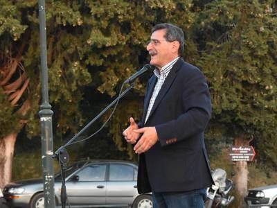 Ομιλία Κώστα Πελετίδη, σε συγκέντρωση στην περιοχή του Γηροκομειού - ΦΩΤΟ