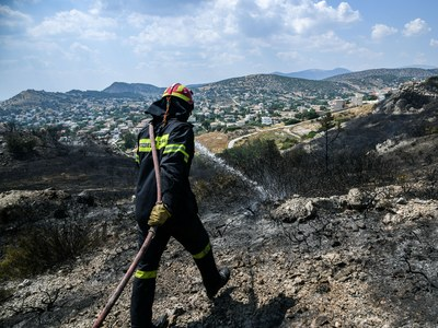 Υπό μερικό έλεγχο η πυρκαγιά στις Ερυθρές Μάνδρας